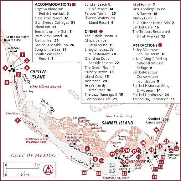 Map of places on Sanibel Island, Florida