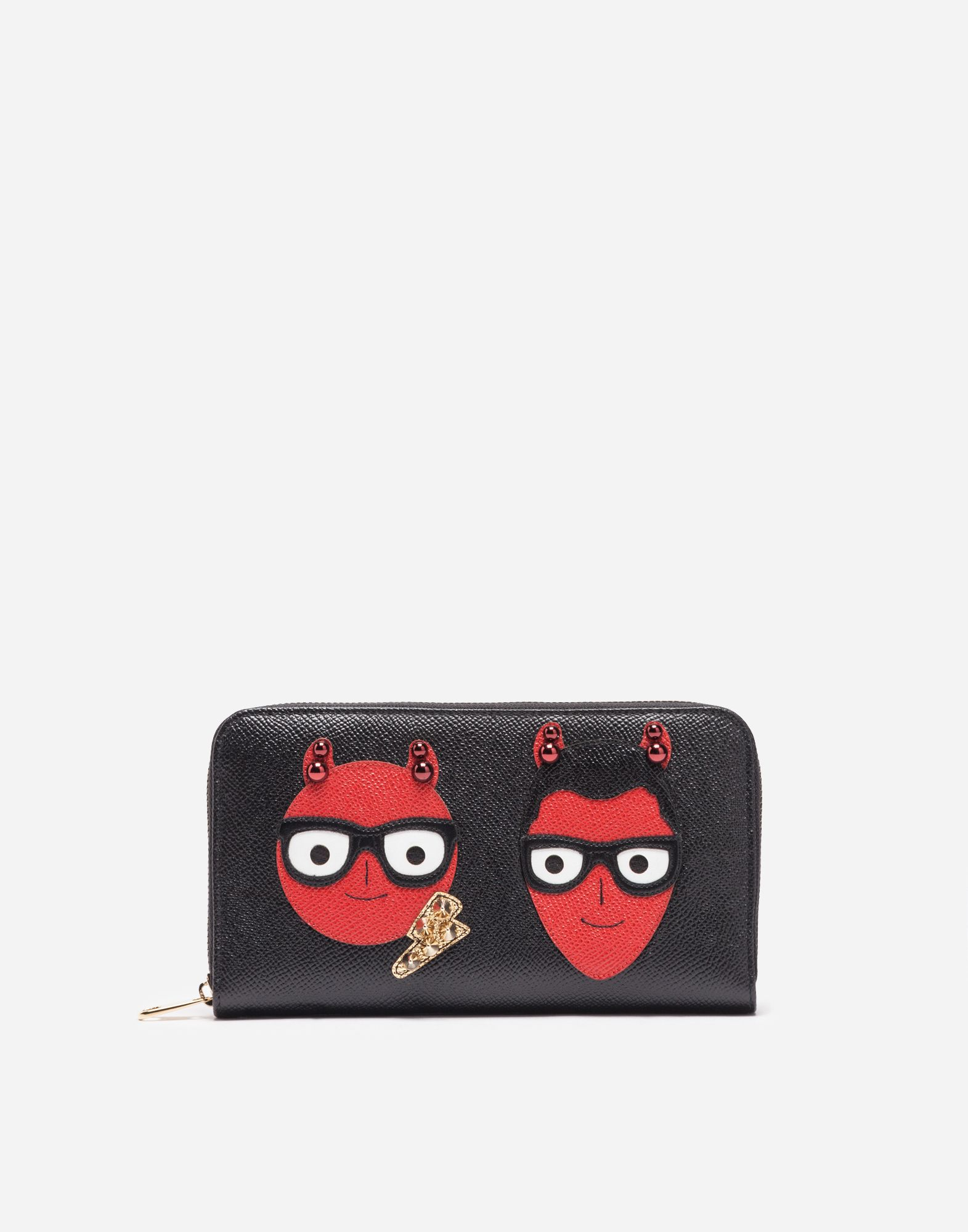 13eb5437f4 Dolce & Gabbana ZIP-AROUND LEATHER WALLET WITH PATCHES OF THE DESIGNERS $845