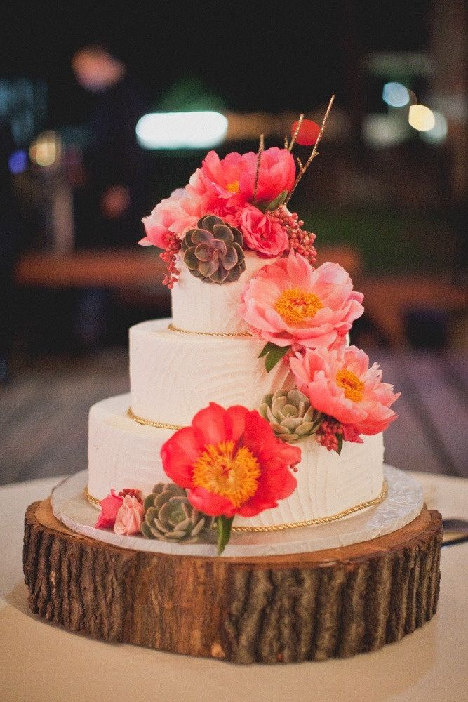 Pretty Bright Flowers And I Love The Whole Cake On Wood Idea
