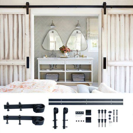 Door Hardware Closet Set 10 Feet Arrow Style Sliding Barn Door Hardware Barn Wood Door Track Whe Interior Sliding Barn Doors Wood Doors Sliding Barn Door Track