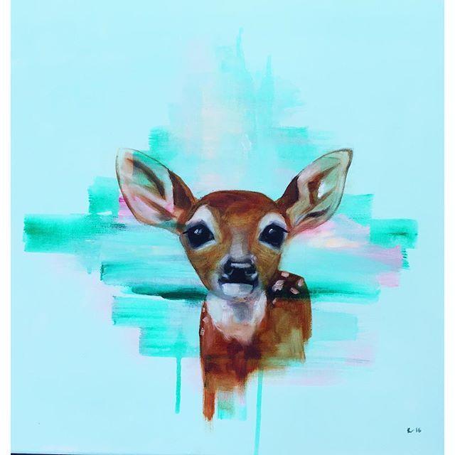 Öljy-akryyli kankaalle 50x50 2016 *myyty Tämän kaverin voi bongata näyttelystäni 8.10.2016 asti @desingnboulevardtampere #bambi #fawn #fawnpainting #mint