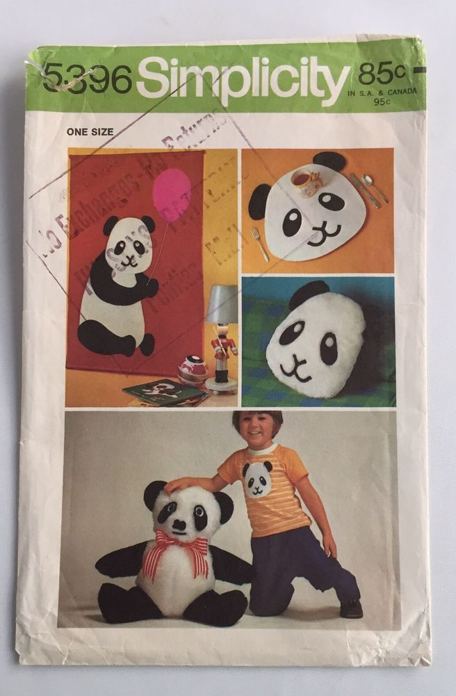 Panda Bear Simplicity Sewing Pattern 5396 Plush Placemat Pillow ...