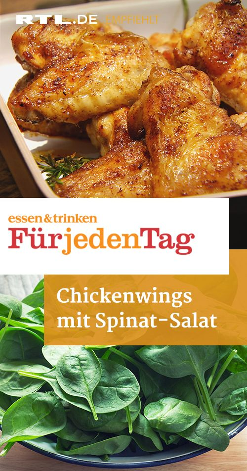 Chickenwings mit Spinat-Salat