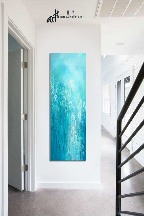 Tall Vertical Blue Wall Art Teal Turquoise Aqua Gray White Etsy Blue Wall Art Original Wall Art Abstract Canvas Painting