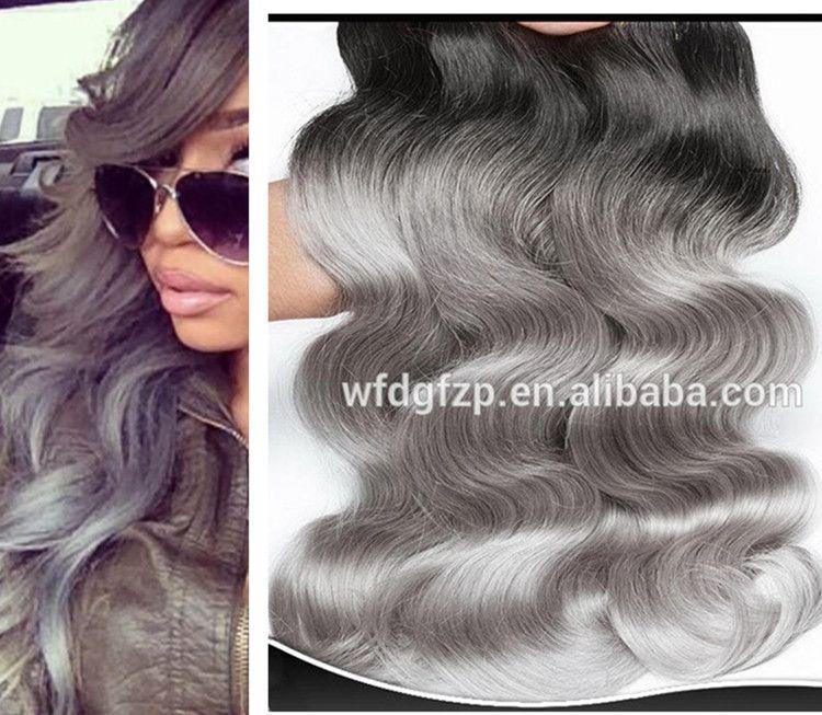 Brazilian Virgin Great Lengths Silver Grey Ombre Human Hair Extension