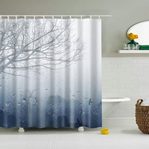 Custom Fabric Bathroom Shower Curtain Features High Quality Silky Satin Polyester Blend Shower Curtain Art Patterned Shower Curtain Fabric Shower Curtains