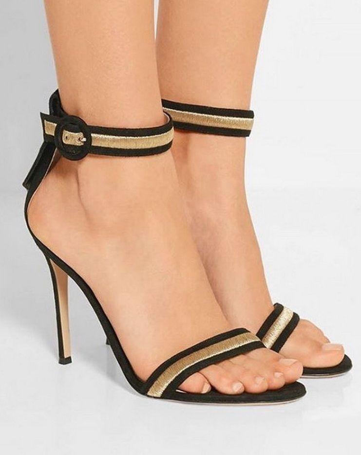 Womens High Heels Gianvito Rossi Suede Ankle Strap Wedge Sandals Nude 6 5 Heels gianvitorossi Website