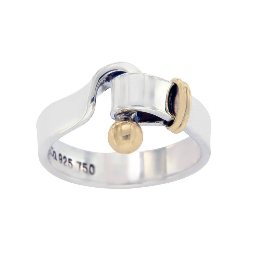 d342299a0 Authentic Tiffany & Co Sterling Silver 18K Gold Hook & Eye Ring Size 6.75  »U28 #TiffanyCo #Band