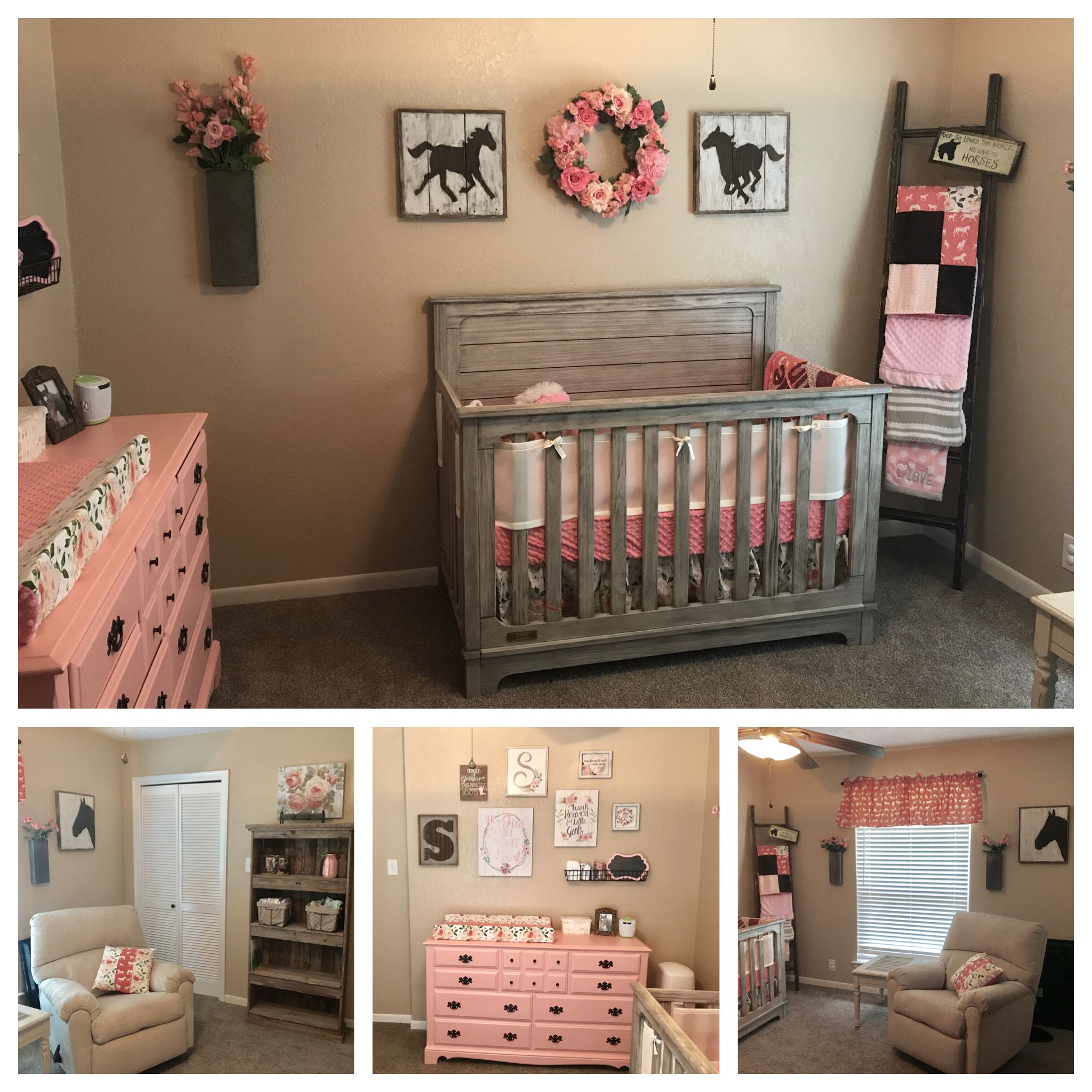 My Little Girl S Sweet Nursery Rustic Horses And Roses Barn Wood Accents And A Soft Dusty Coral Pink Baby Girl Room Girl Nursery Room Baby Girl Nursery Room