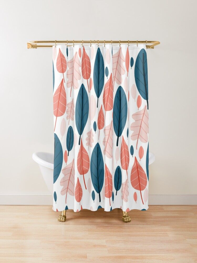 Leaves Cute Botanical Leaf Pattern In Steel Blue Blush Pink And