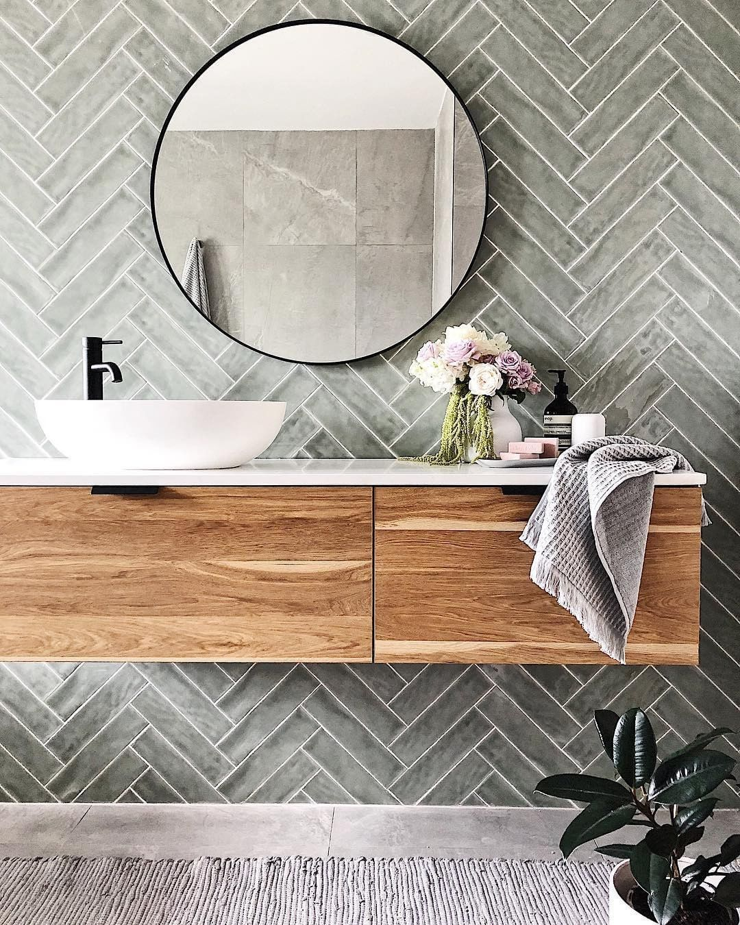 Highgrove Bathrooms On Instagram Loving This Herringbone Tile Feature Wall Teamed With The Eden In 2020 Bathroom Interior Design Bathroom Interior Bathrooms Remodel