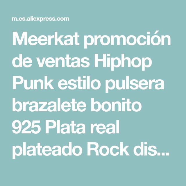 03d5c77ca759 Meerkat promoción de ventas Hiphop Punk estilo pulsera brazalete bonito 925  Plata real plateado Rock diseño