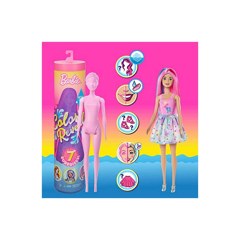 Water Reveals Doll's Look /& Creates Barbie Color Reveal Doll with 7 Surprises