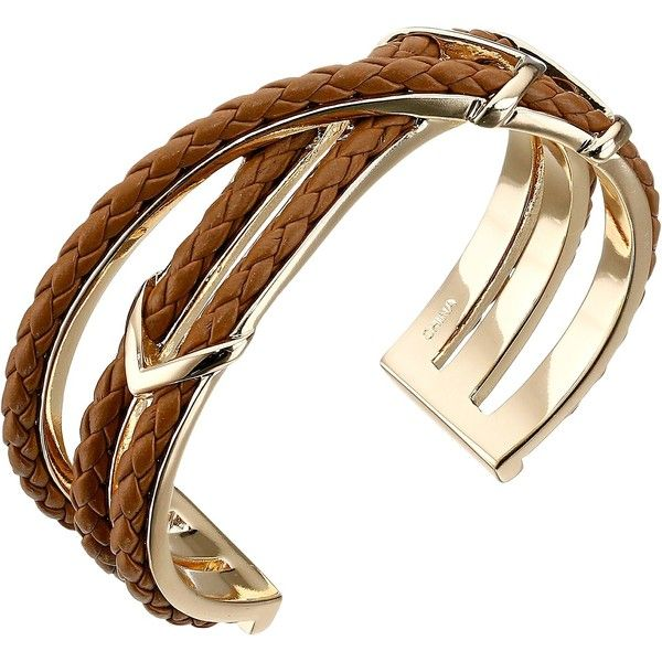 Cole Haan Chevron Metal Leather Braided Cuff Bracelet (€53) ❤ liked on Polyvore featuring jewelry, bracelets, brown, bangle cuff bracelet, leather jewelry, leather bangle, woven jewelry and chevron jewelry