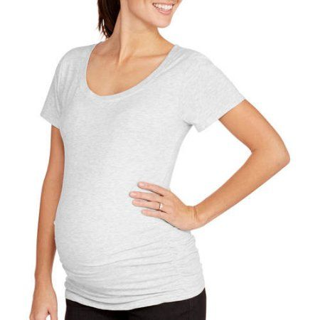4bd77d70 Oh! Mamma Maternity Short Sleeve Tee with Flattering Side Ruching-- Available  Plus Size, Size: Large, Gray