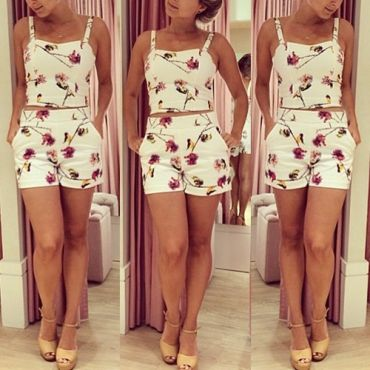 USD11.49Bohemian  Shorts Print Square Sleeveless White Polyester Two-piece Outfits