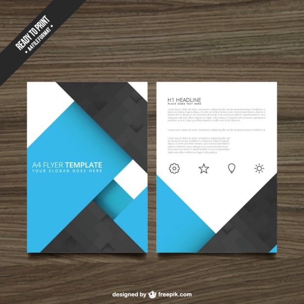 Blue and black brochure Free Vector Free Trifold Pinterest - booklet template free download