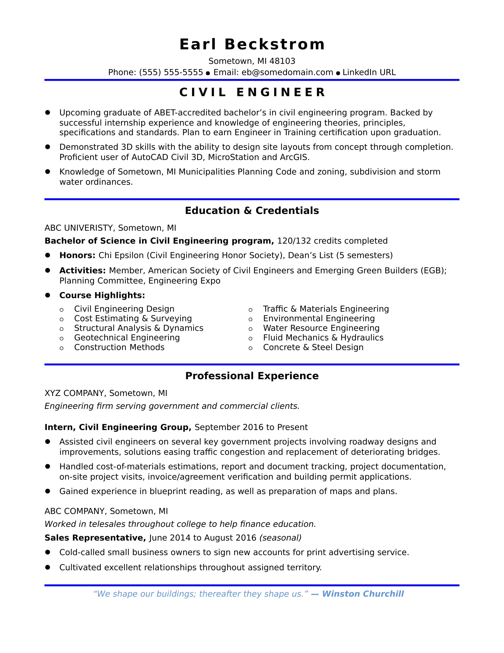 If You Re Just Starting Your Civil Engineering Career Check Out This Entry Level Civil Engineer Resume Sample Engineering Resume Civil Engineer Resume Internship Resume