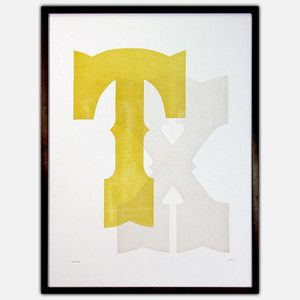 Texas Poster Yellow Gray now featured on Fab.