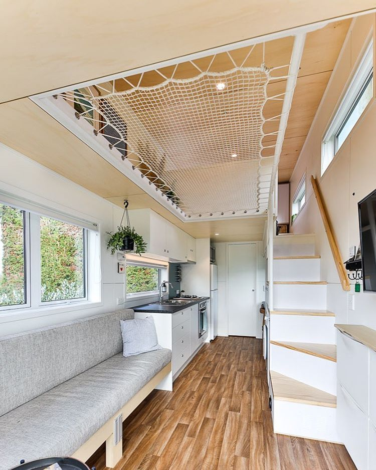 The Net Loft Is Such A Brilliant Idea It Creates Usable Floor Area While Also Allowing The Ho Tiny House Loft Tiny House Nation Tiny Houses Plans With Loft