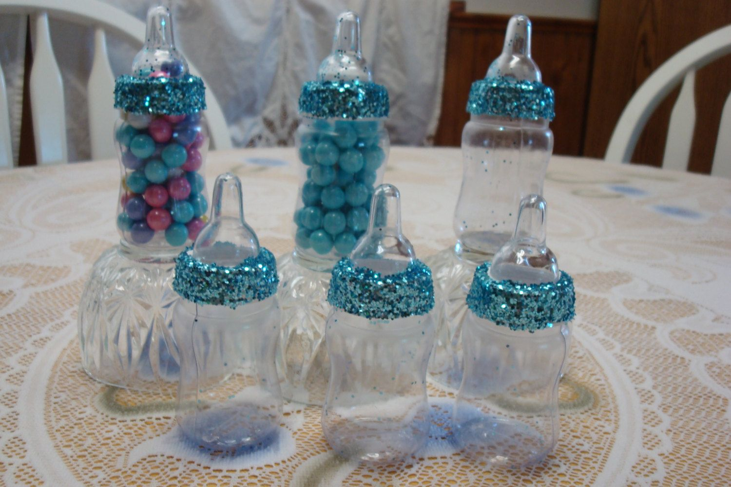 Tiffany Themed Baby Shower; Blue Glitter Baby Bottle Favors; Royal Theme Baby…