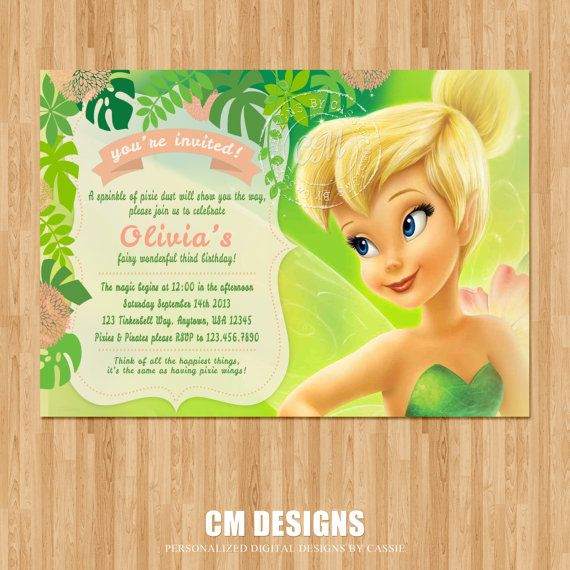 Tinkerbell Birthday Invitation Kate 7 Tinkerbell – Tinkerbell Party Invitation