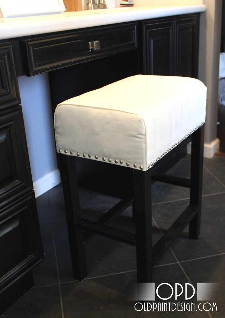 Might be a good diy to replace the falling apart cheap kitchen counter stools we currently have - Counter height vanity chair ...
