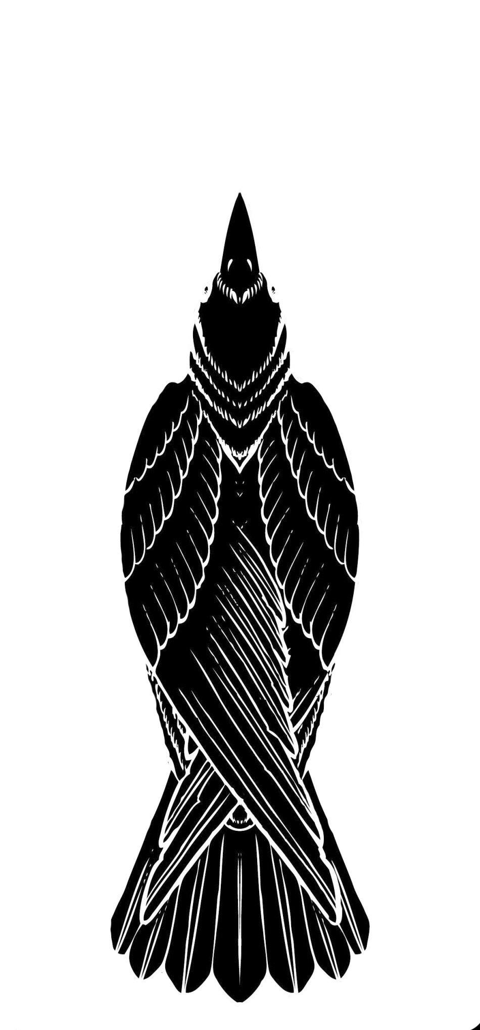 Raven Tattoo (Black on White Background)