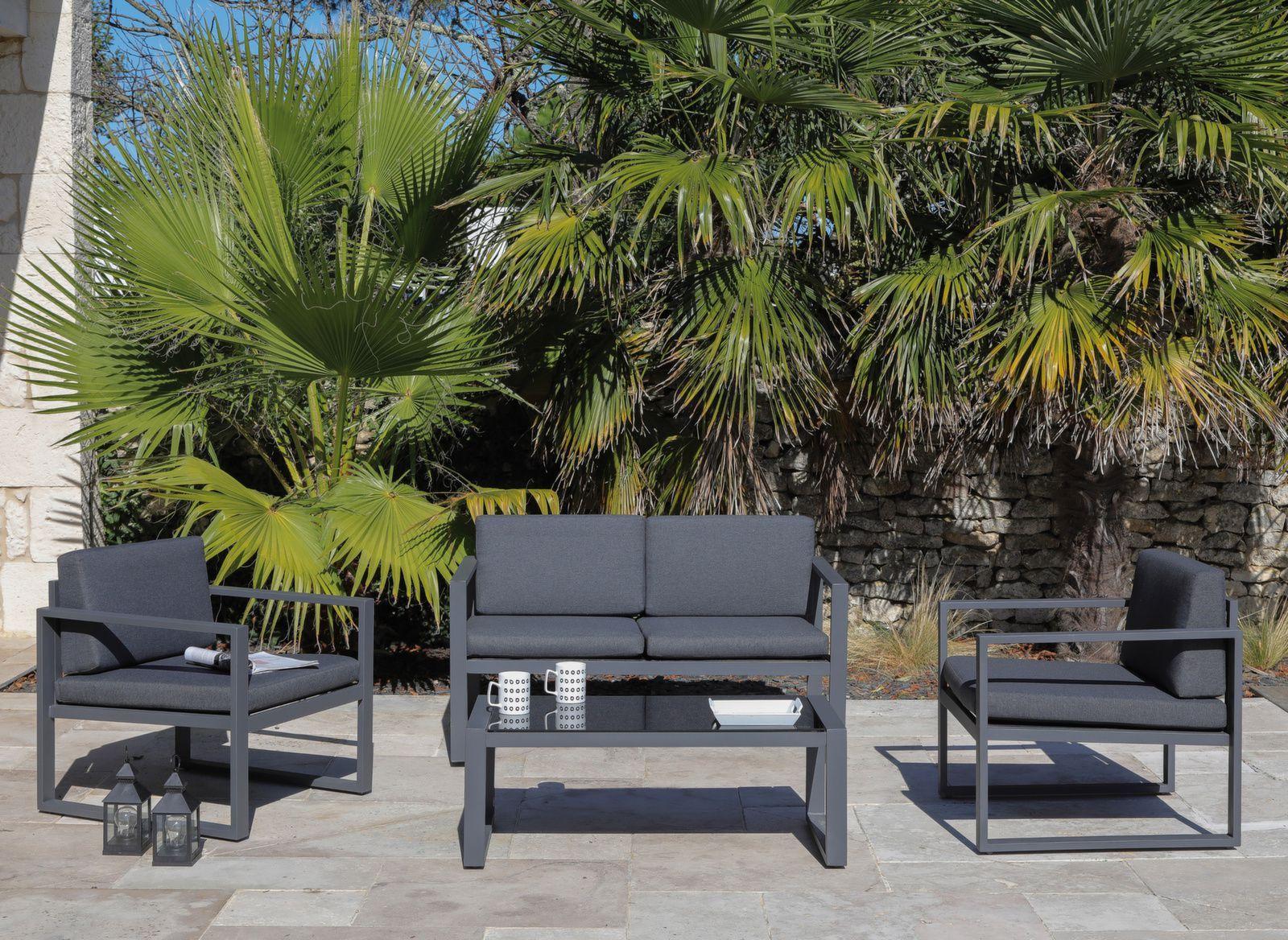 Salon De Jardin En Aluminium Avec Fauteuil Et Table Basse Salon De Jardin Salon D Exterieur Mobilier Jardin