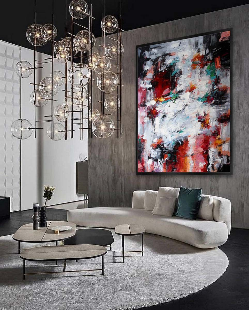 Colorful Abstract Wall Art Hand Painted Modern Painting Extra