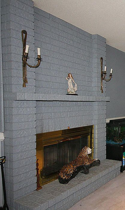 First Project Cultured Stone Over Painted Brick Fireplace Ceramic Tile Advice Forums Painted Brick Fireplace Painted Brick Grey Painted Brick