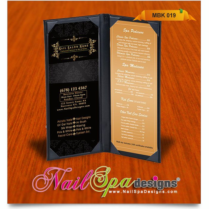 Menu book template for Nail Salon. Visit www.NailSpaDesigns.com ...