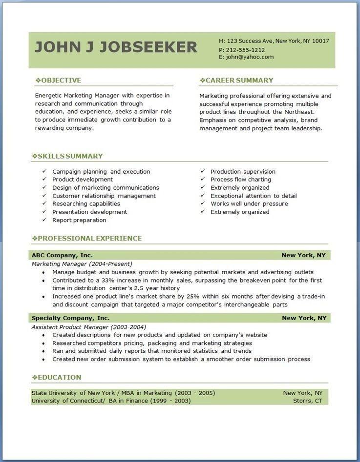 Free Resume Templates Marketing Freeresumetemplates