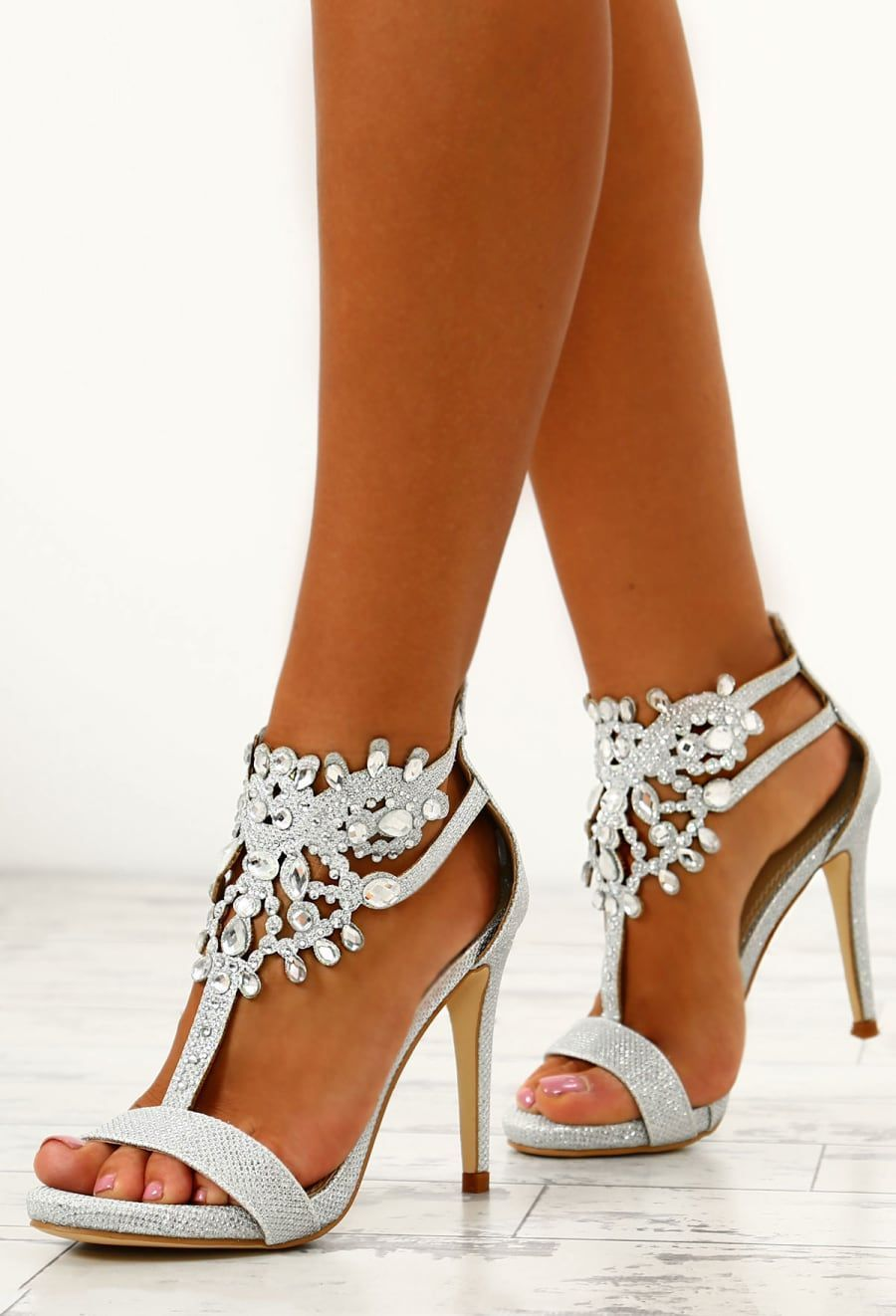 8ced8215d71 Prom Queen Silver Embellished Stiletto Heels