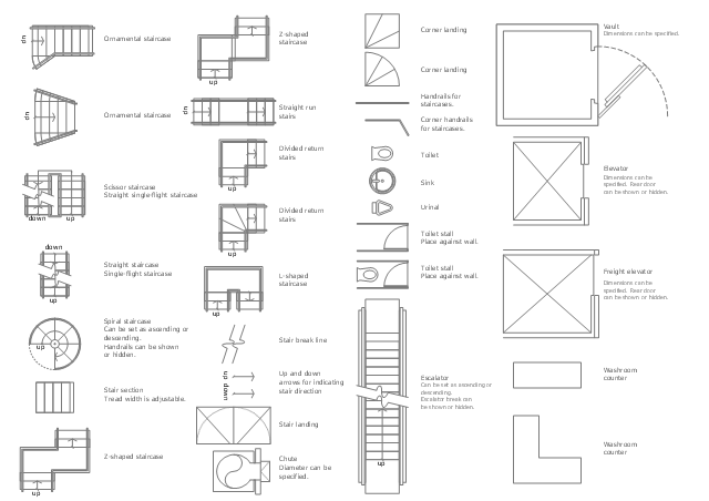 Design Elements Building Core Building Core Vector Stencils Library Urinals Floor Plan Stairs Floor Plan Restaurant Floor Plan Hotel Floor Plan