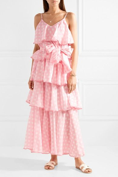 Imaan Tiered Polka-dot Cotton-voile Maxi Dress - Pink Lisa Marie Fernandez Free Shipping Low Shipping Fee Footlocker Cheap Online Fashionable Online For Sale Online Store SThdxhdrWr