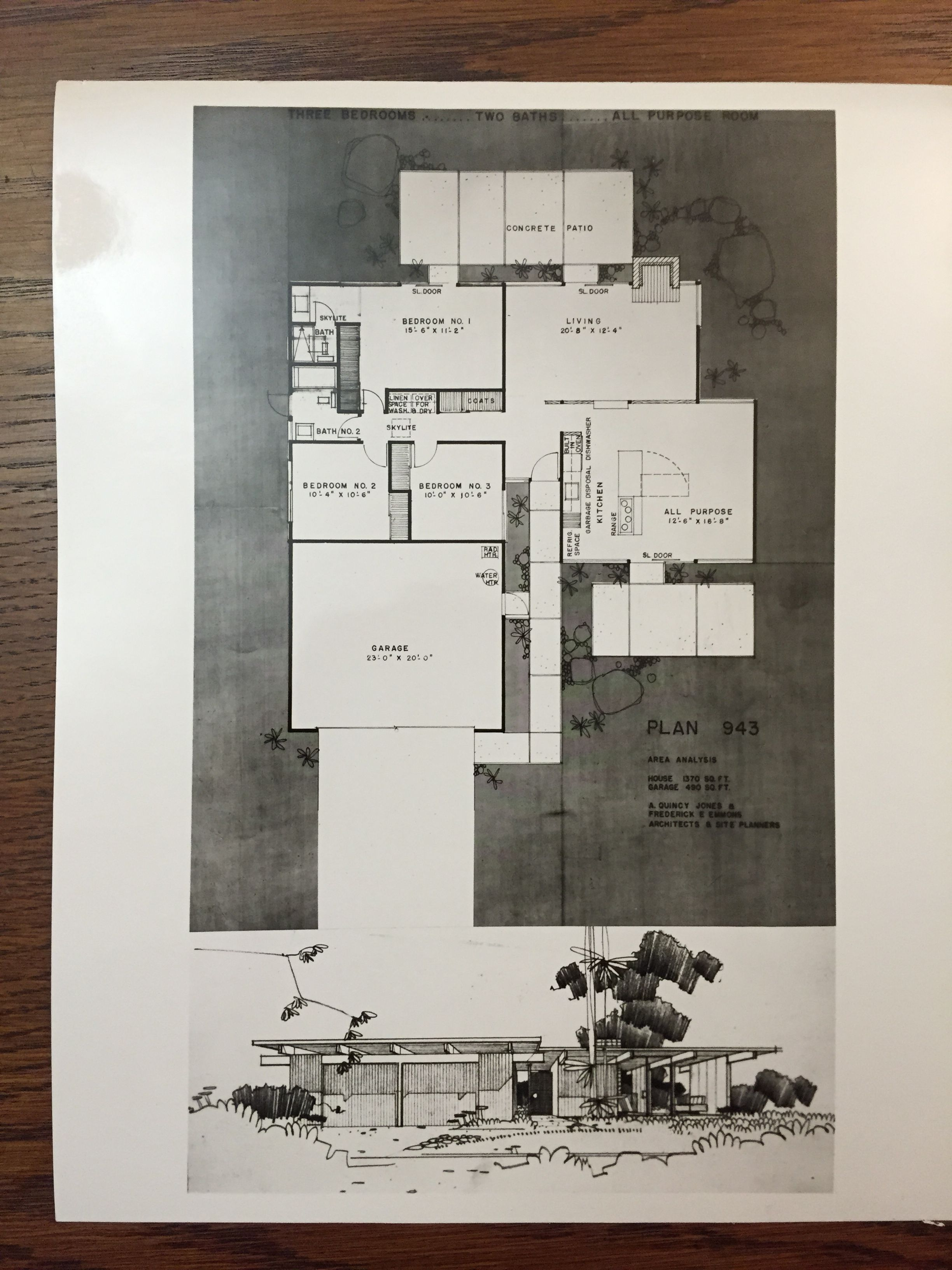Eichler Homes floor plan 943 (Original at UCLA Library Special Collection, A. Quincy Jones Papers)