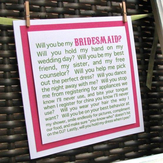 cute way to ask bridesmaid