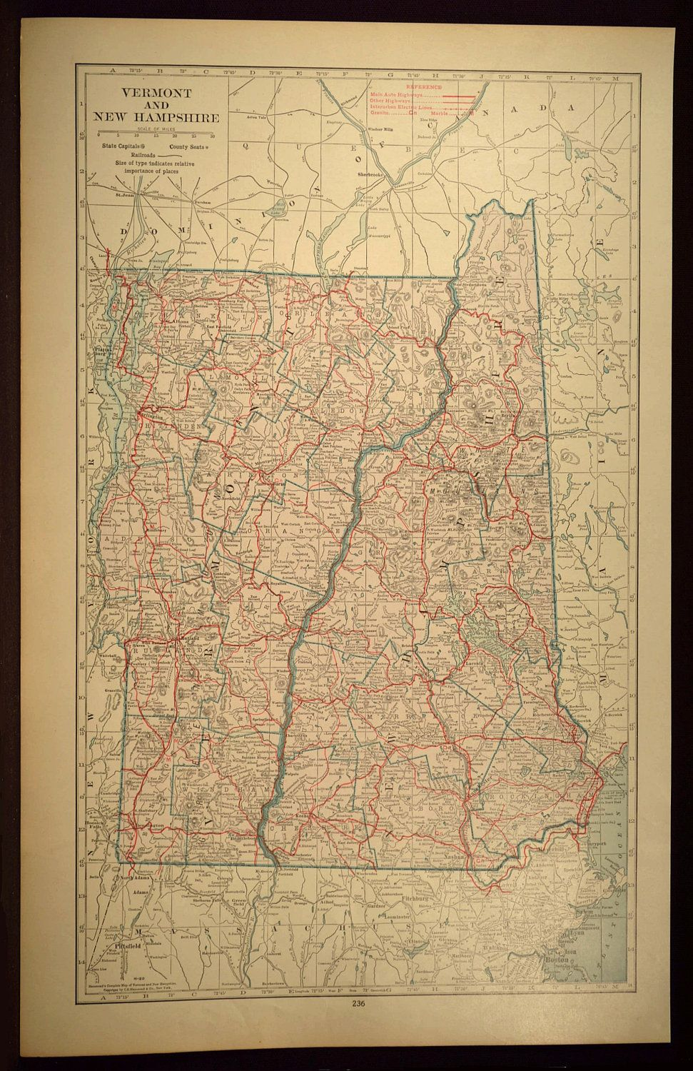 New Hampshire Wall Art LARGE Vermont Road Map Highway Decor   Map ...