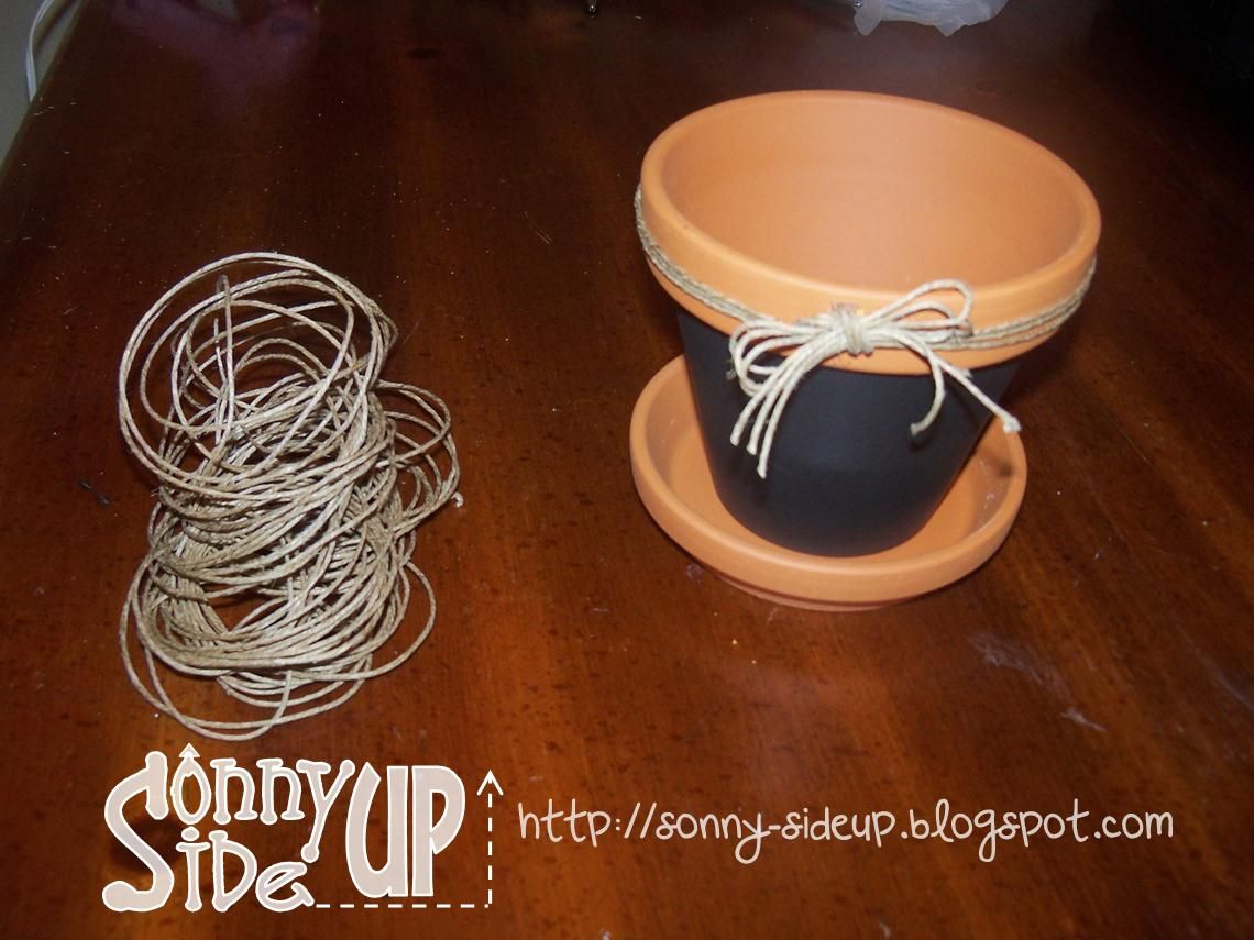 Chalkboard Stickers for herb | Then, I decorated the rim by gluing hemp around the rim and into a bow ...