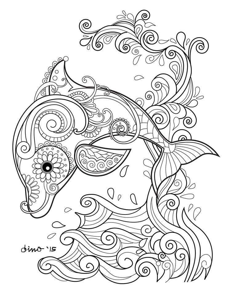 Dolphin Dolphin Coloring Pages Mandala Coloring Pages Adult