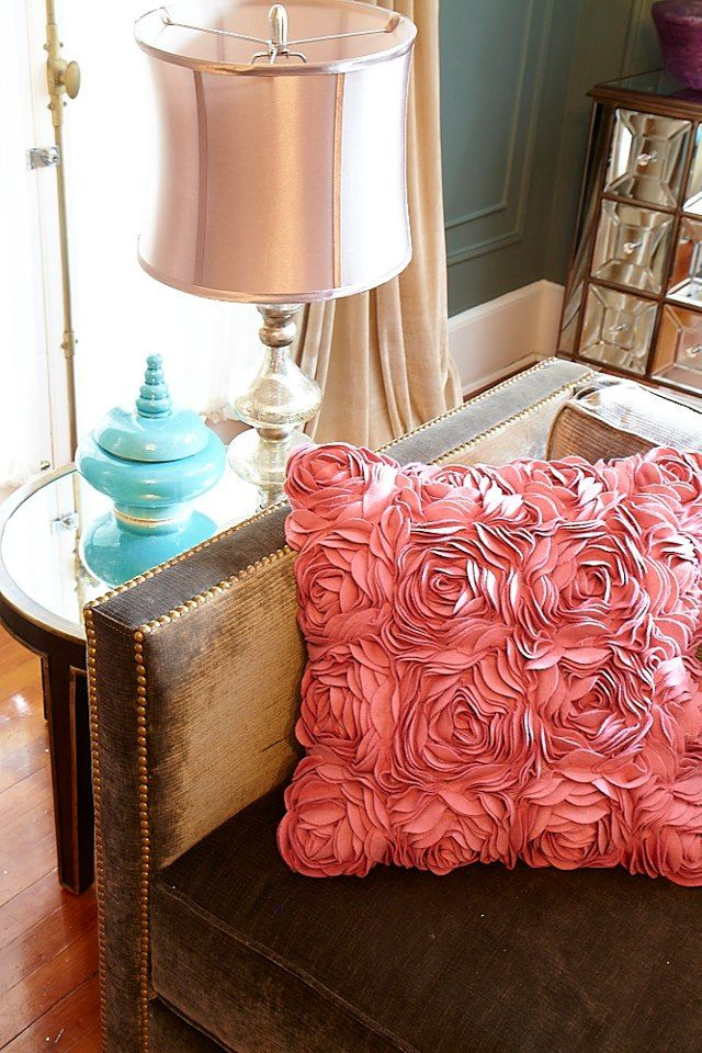 living room :: accent pillow...maybe find throw pillows to cover and add rose accents...