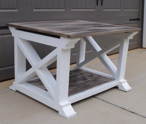 Inspired By Home Coffee Table With Rustic Top Pure White X Frame Bottom Home Coffee Tables Coffee Table Artisan Furniture