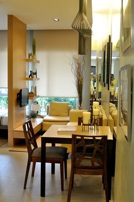 Studio unit by ilustrata residences condominiums quezon city micro interior design Condo kitchen design philippines