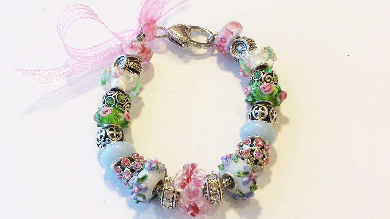 European Bead Bracelet Floral Charm Green, Pink & Purple Flower Murano Glass USA by ThemeBraceletGal on Etsy