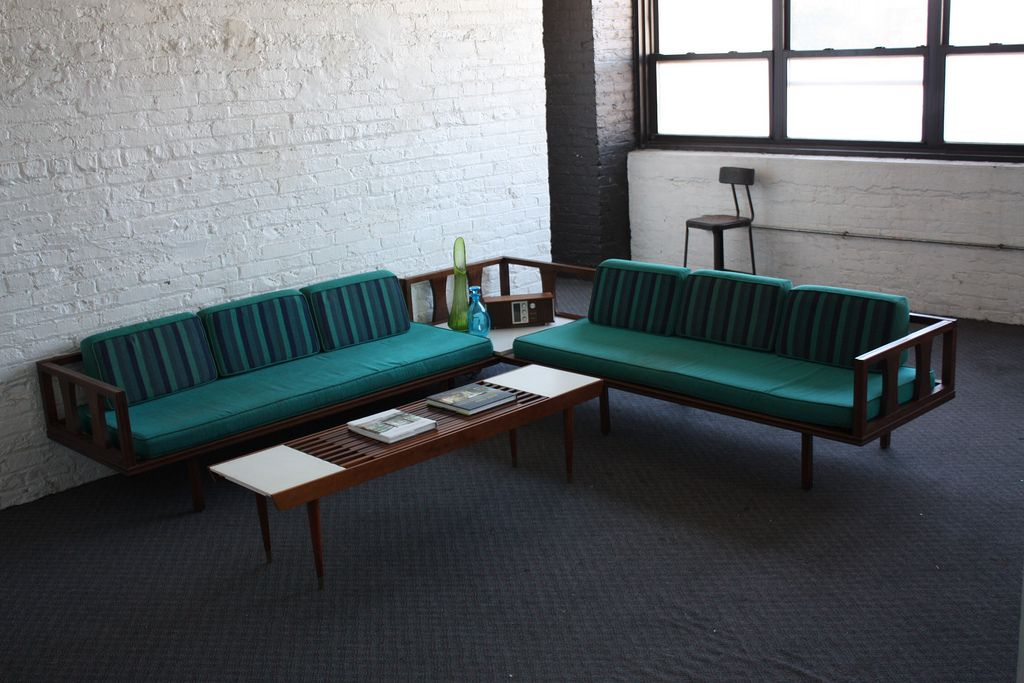 Great Danish Modern piece upholstered in teal. : danish modern sectional - Sectionals, Sofas & Couches
