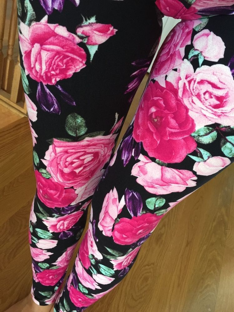 SOFT Pink Roses Brushed Paisley Floral Leggings S M L ONE size PLUS 1X 2X GREAT #NewMix