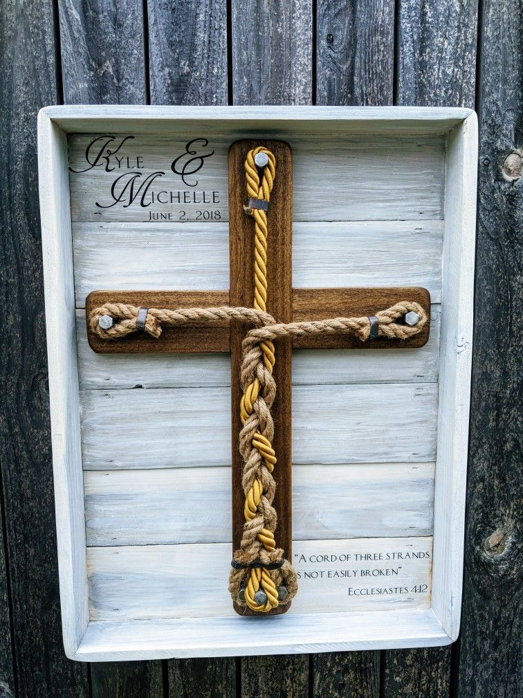 Framed Unity Wedding Cross with gold middle cord.