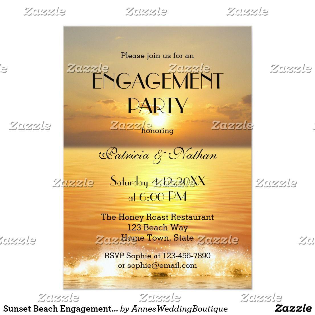 Sunset Beach Engagement Party Invitation Beach