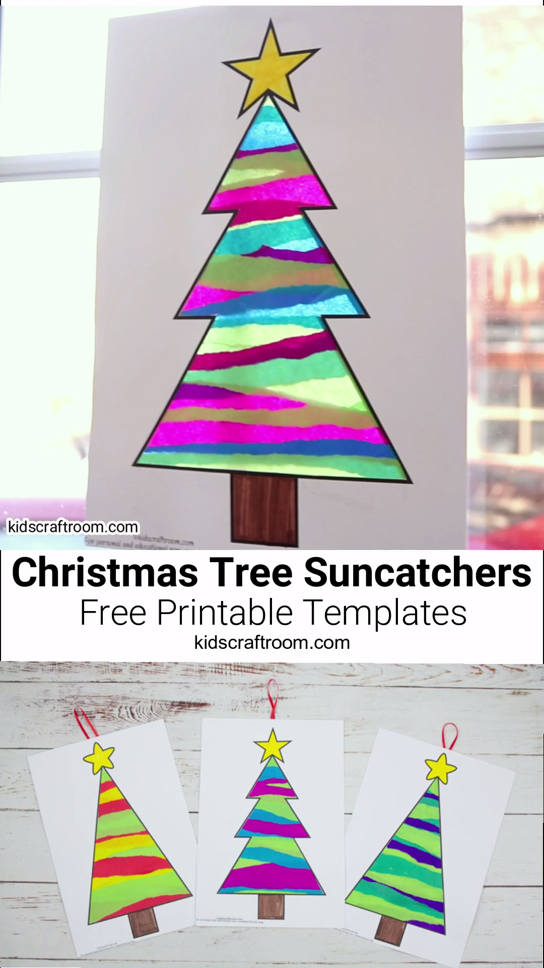 This Tissue Paper Christmas Tree Suncatcher Craft is such a pretty Christmas craft for kids. Easy to make with the free printable templates and layers of torn tissue paper. When the light shines through them the colours look amazing, like stained glass! A lovely Christmas suncatcher craft for little and big kids with lots of fun paper tearing to build fine motor skills. #kidscraftroom #Christmascrafts #christmas #suncatchers #suncatcher #christmastree #papercrafts #tissuepaper #kidscrafts #holid
